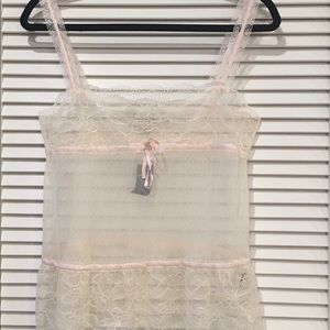 Blush Abercrombie and Fitch Sheer Lace Tank Top